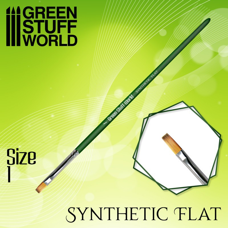 GREEN SERIES Flat Synthetic Brush Size 1