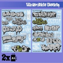 Waterslide Decals - Train and Graffiti Mix - Silver and Gold